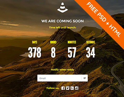 Coming soon page with full-size background image