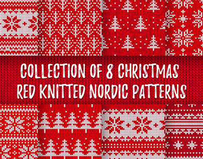 Collection of 8 Christmas Red Knitted Nordic Patterns