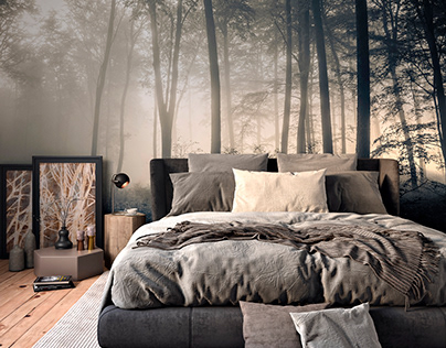 Bedroom in the misty forest