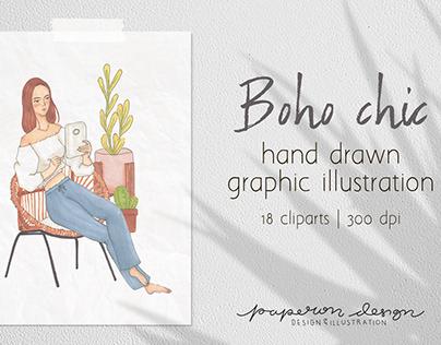 Girl Boss Boho Clipart