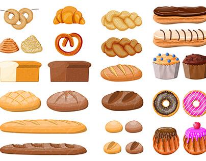 Bread icons set.