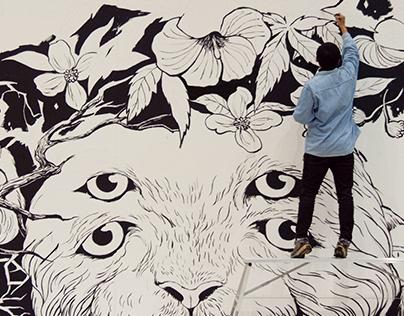 symbiosis, 2013, wall painting, 15 x 3m