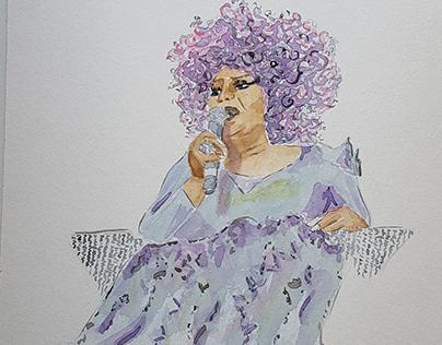 Watercolor: Elza Soares