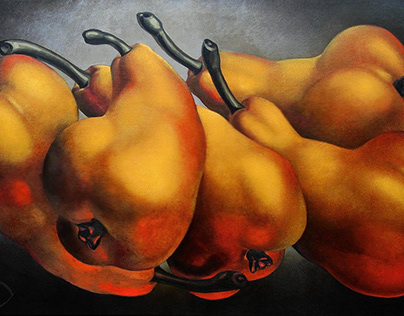 5 Large Pears #57, oil on canvas, 100 x 160 cm, 2018