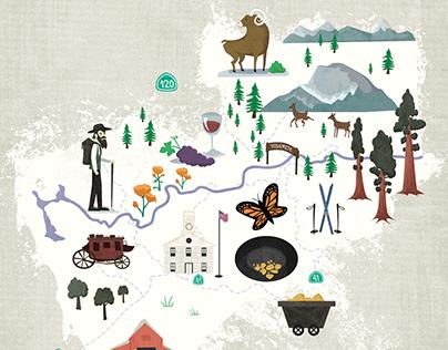 Mariposa County Map Illustration