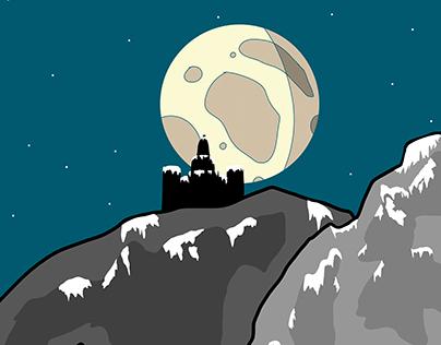 Semi-snowy castle on the mountain