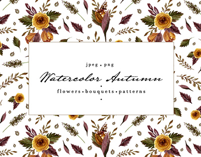 Watercolor autumn. Floral set