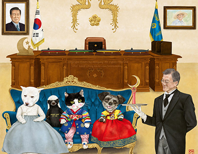 South Korea's Moon Jae-in, president and his companion