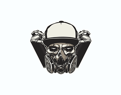 black skull logo design