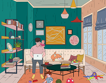 Illustrations for a furniture store. Work at home