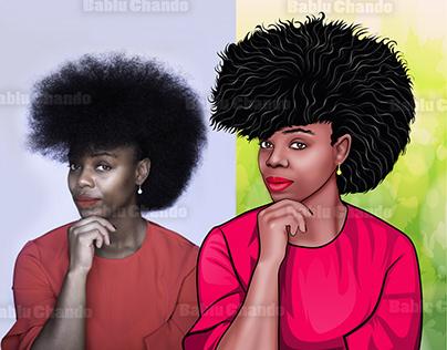 Amazing Soft Cartoon or Vector portraits f black girls