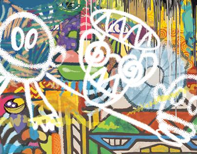 Digital Mural - Orange 'follow me', 2017