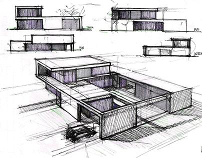modern house. first step - sketch
