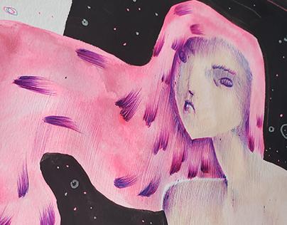 pink ballpoint illustrations