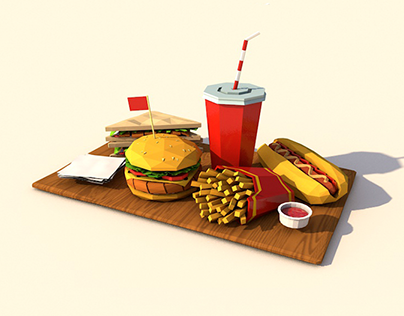 Cartoon Low Poly Fastfood Pack