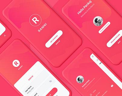 Ramni Free Mobile App UI UX Kit