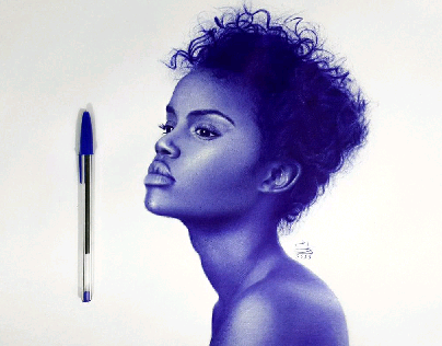 African girl with ballpoint pen