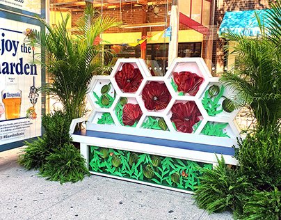 Hoegaarden NYC bus shelter bench