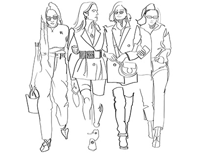 Linear vector colorful and B&W fashion illustration