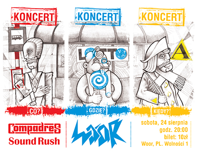 Compadres. Band logo design and poster project.