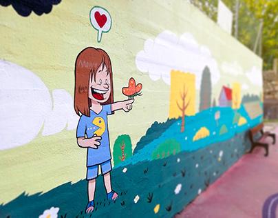 Mural en el CEIP Vila Laura (Vigo)