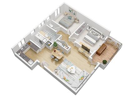 The 3D floor plan