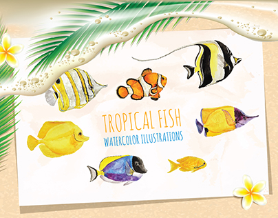 Tropical Fish Watercolor Illustrations