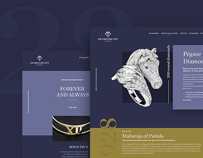 Diamond Cats: showcase website for jewelry brand