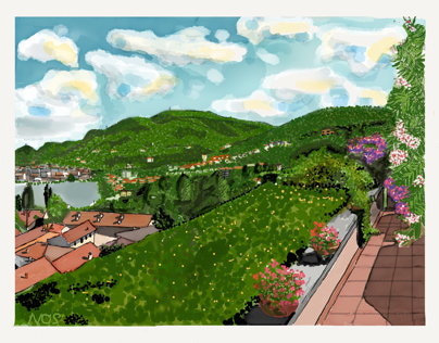 Lake Como Panorama from roof garden