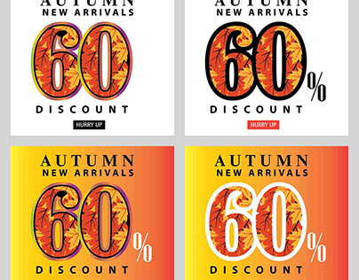 Autumn sale interest offer card and label set