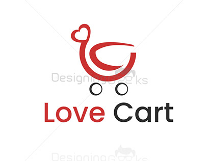Cute Love cart logo design