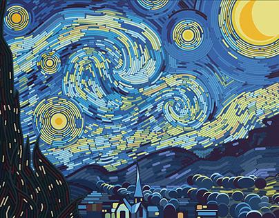 V. van Gogh, Starry Night: Digital Illustration