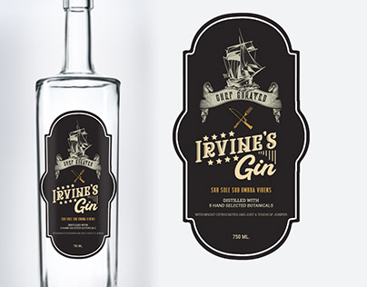 Gin Bottle Label Design