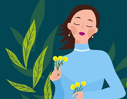 Illustration - Girl in the Garden