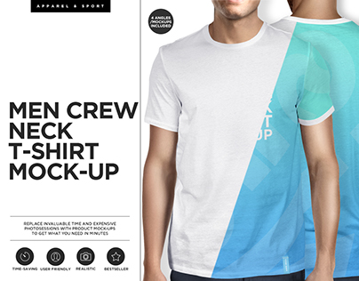 Men Crew Neck T-shirt Mock-ups Set