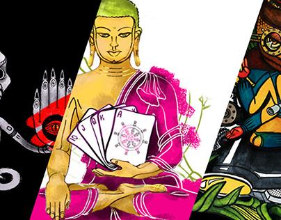Prints for clothes. Tibetan theme.