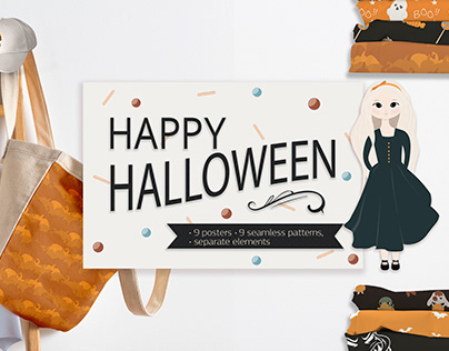 Halloween patterns and greeting cards