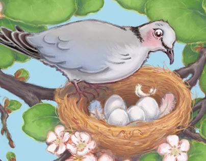 Spring Dove, digital illustration