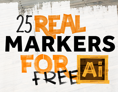 FREEBIES – 25 REAL MARKERS FOR ILLUSTRATOR