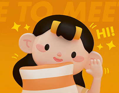 BIG EAR GIRL-3DIP character
