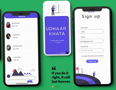 UI of Udhaar app