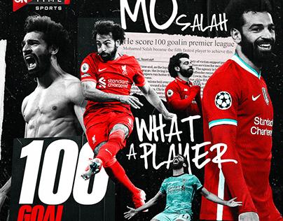 MO Salah ( 100 goal ) Soccer Poster