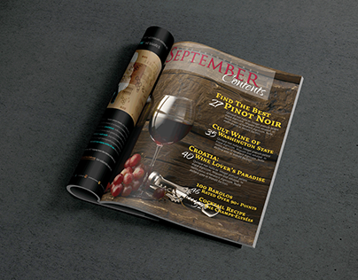 Editorial design for a wine-themed magazine