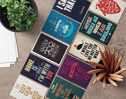 Серия типографических открыток на фестиваль
