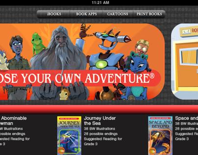 CYOA iStore interface & iPad book designs