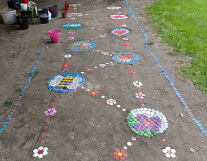 Trail of plastic cups /recycled art in kindergarten
