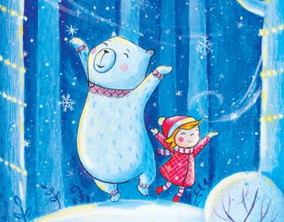 little girl  and polar bear