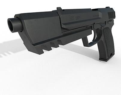 LOW POLY - gun design. modeling - Cinema 4d, texturing