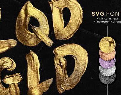 Liquid Gold SVG Font + Actions