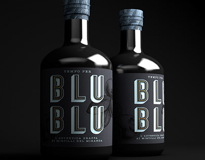 Blueberry grappa bottle label design.